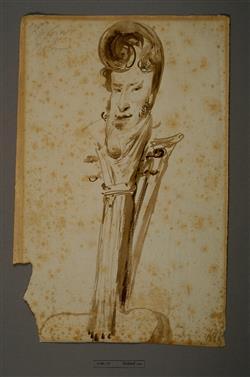 Caricature du violoniste Charles Philippe Lafont (1781-1839), en forme de volute de violon | Leprince, Xavier-Auguste