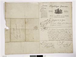 Lettre de Carnot, Ministre de la Guerre, à Raoux, facteur d'instruments à vent   Carnot, Lazare