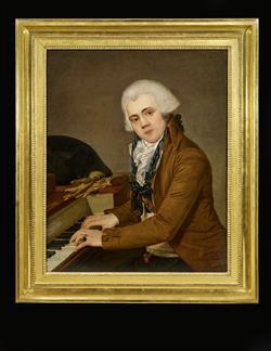 Portrait de pianiste avec piano carré Erard frères | Anonyme